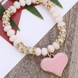 Stretch Bracelet- NEW- Pink Heart with Beads
